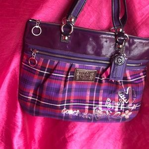 purple and pink COACH POPPY tote bag